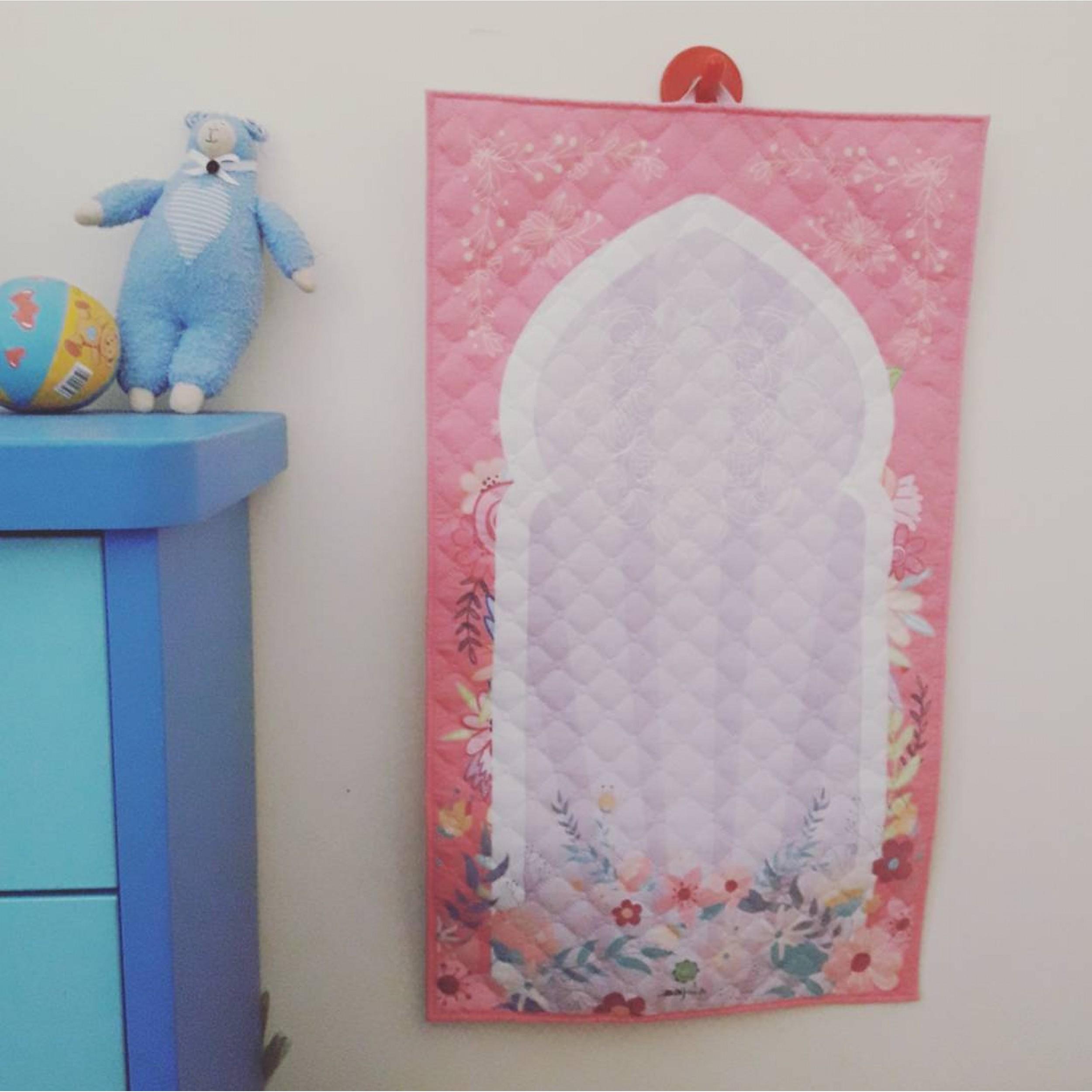 Детский розовый коврик для молитвы (размер 78x47)