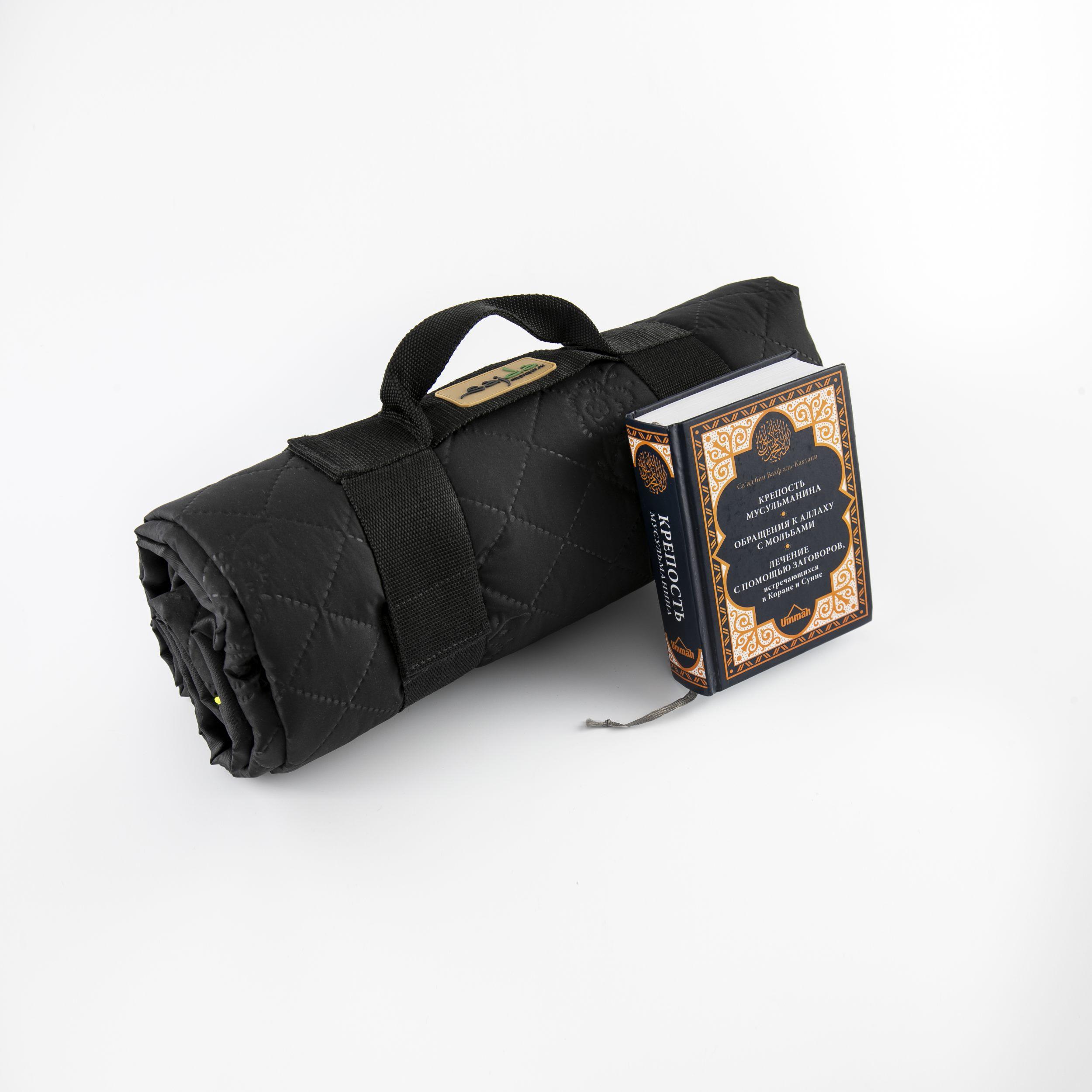 Двойной непромокаемый коврик для намаза черный трехслойный. Размер 145×125